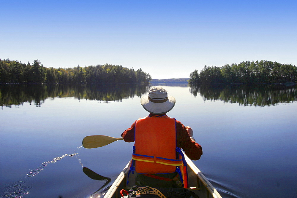Canoeist on Big Trout Lake, Algonquin Park, Ontario