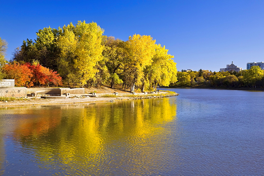 Assiniboine River joining Red River at The Forks in fall, Winnipeg, Manitoba