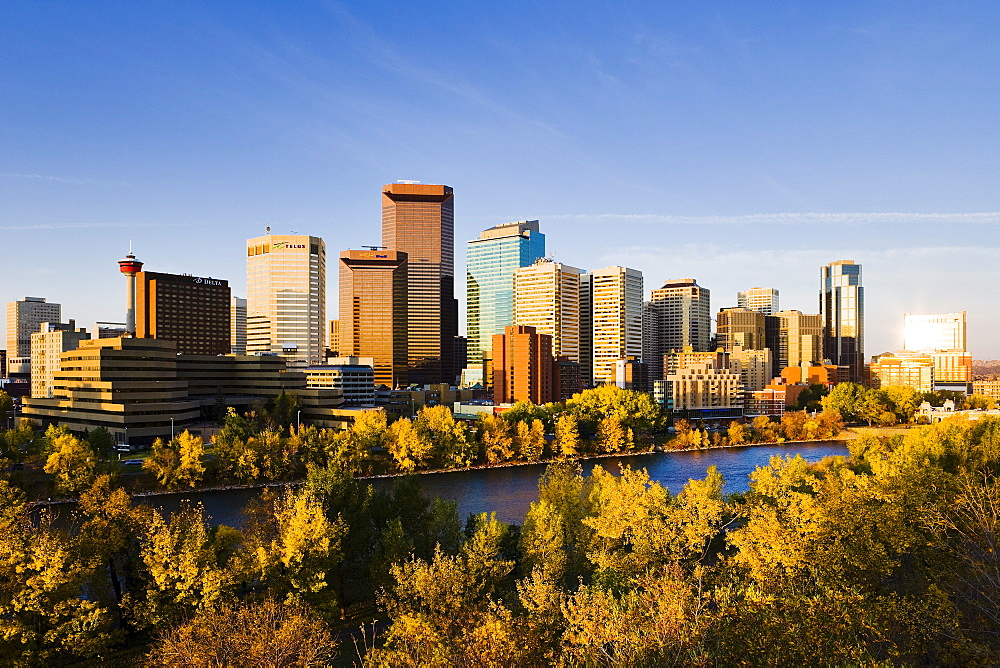 Skyline and Bow River, Calgary, Alberta