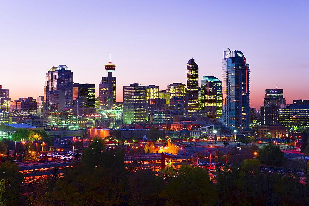 Skyline at dusk, Calgary, Alberta