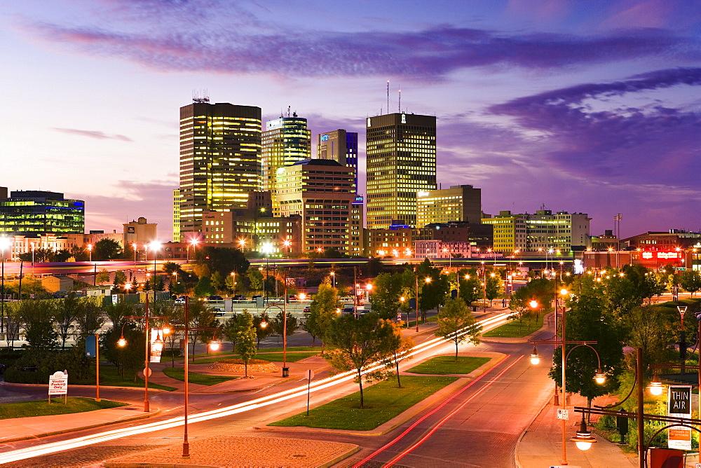 City skyline at dusk, Winnipeg, Manitoba