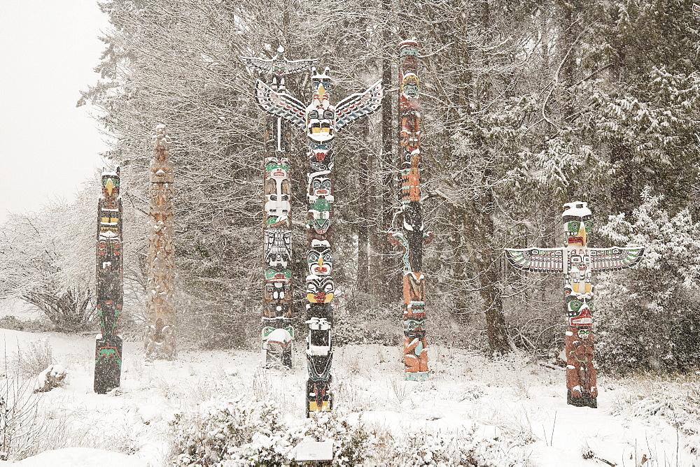 Snowy Totem Poles, Stanley Park, Vancouver, British Columbia