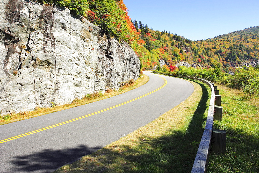 Artist's Choice: View of Parkways curving road, Blue Ridge Parkway National Park, North Carolina