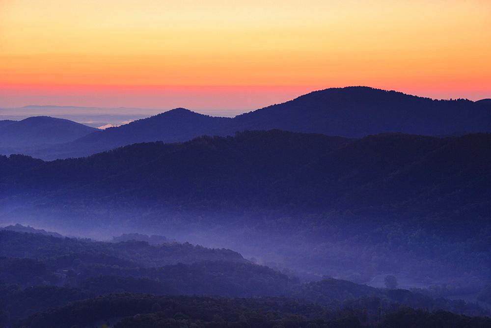 View from Roanoke mountain, Blue Ridge Parkway National Park, Virginia