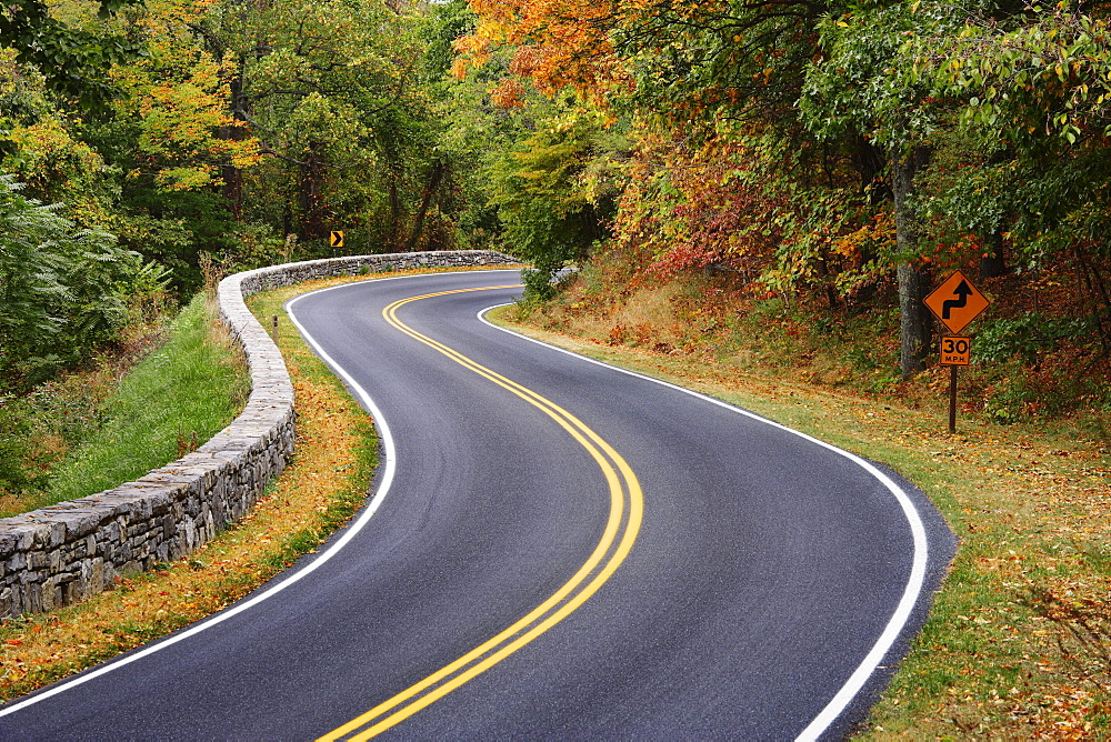 View of Skyline Drive, road curving through mountain landscape in autumn, Shenandoah National Park, Virginia