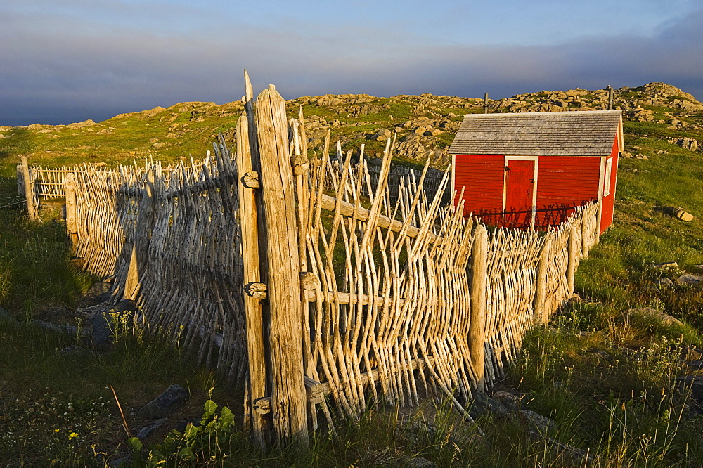 Rustic Stick Fence and Shed at Cape Bonavista Lighthouse Provincial Historic Site, Newfoundland