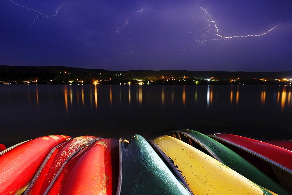 Lightning over Canoe and Pohenegamook Lake, Pohenegamook, Bas-Saint-Laurent Region, Quebec