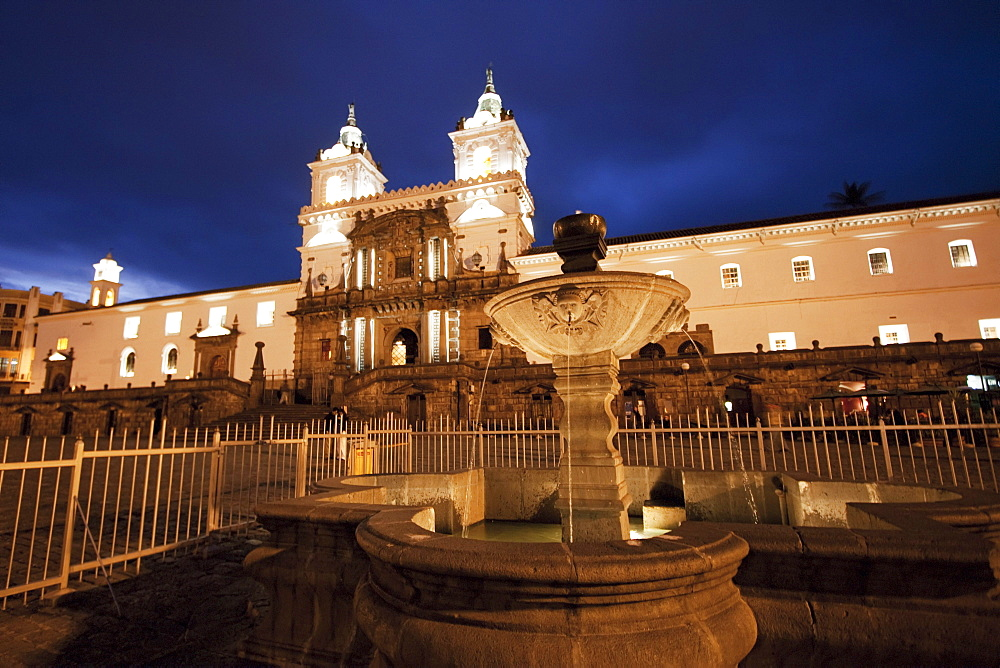 San Francisco Church at night, Quito, Pichincha, Ecuador