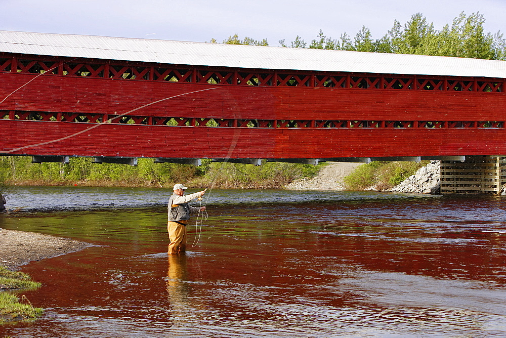 Senior Fly Fishing, Matapedia River, Gaspesie Region Quebec