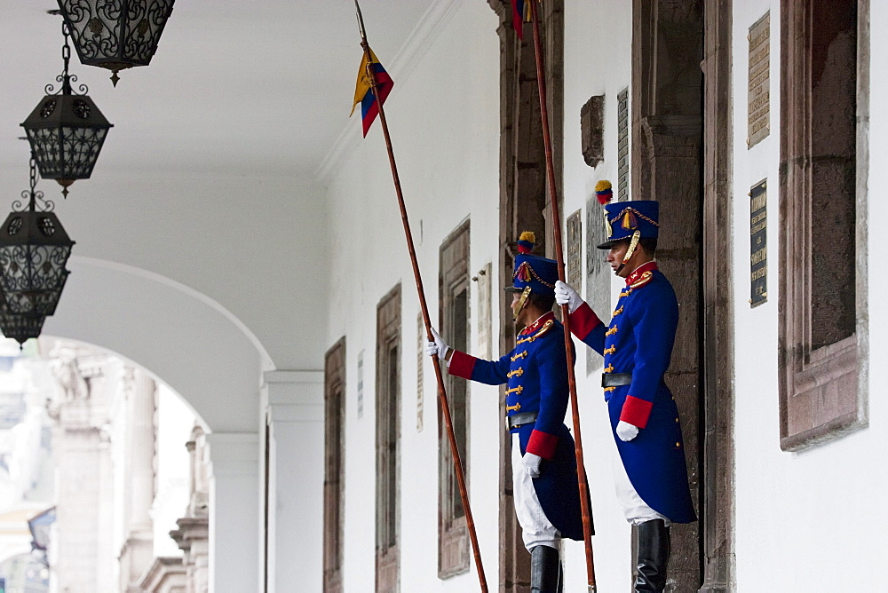 Honour Guards standing in front of Palacio de Carondelet (Presidential Palace), Quito, Pichincha, Ecuador
