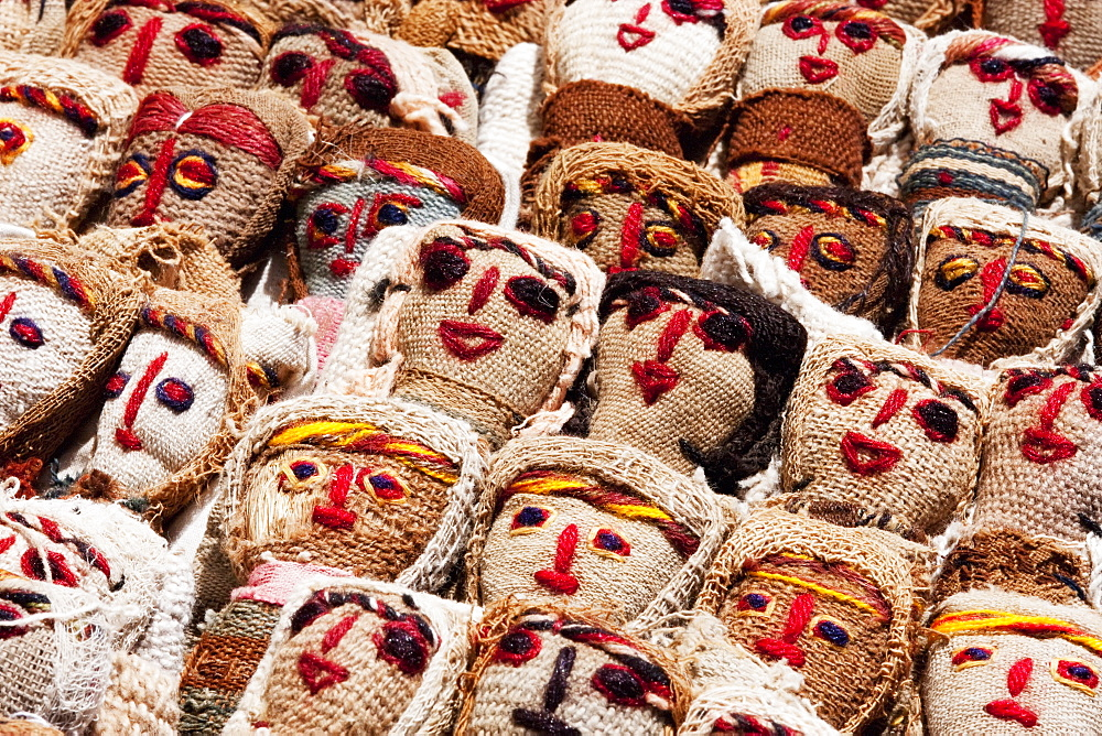 Burlap dolls for sale at the Saturday crafts market, Otavalo, Imbabura, Ecuador