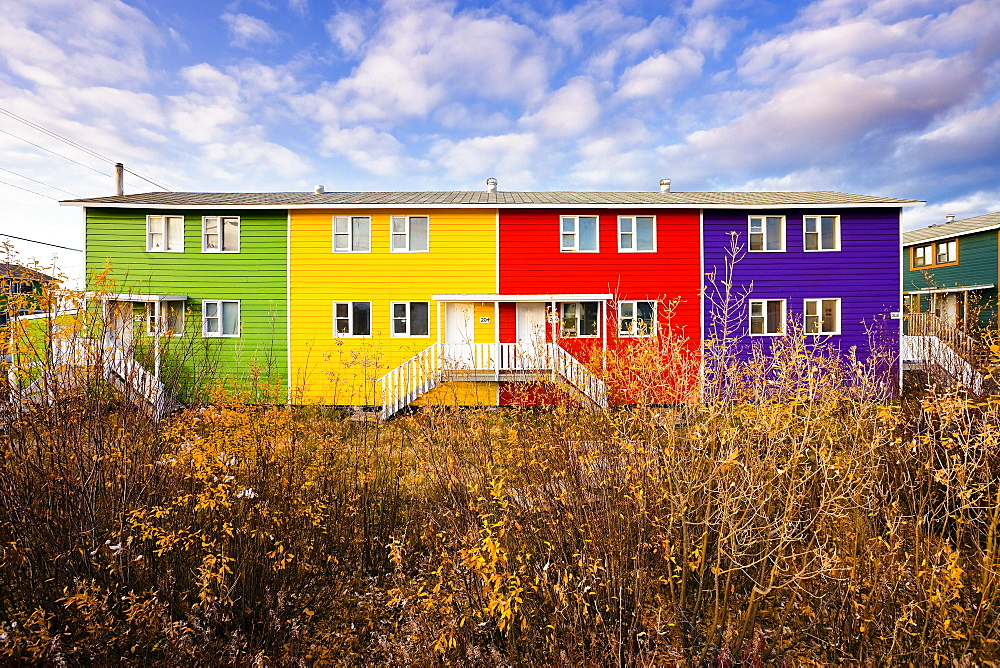 Multicolored townhouses, Inuvik, Northwest Territories