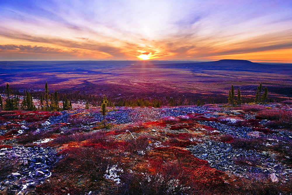 Fall colours and sunset along Dempster Highway, Yukon