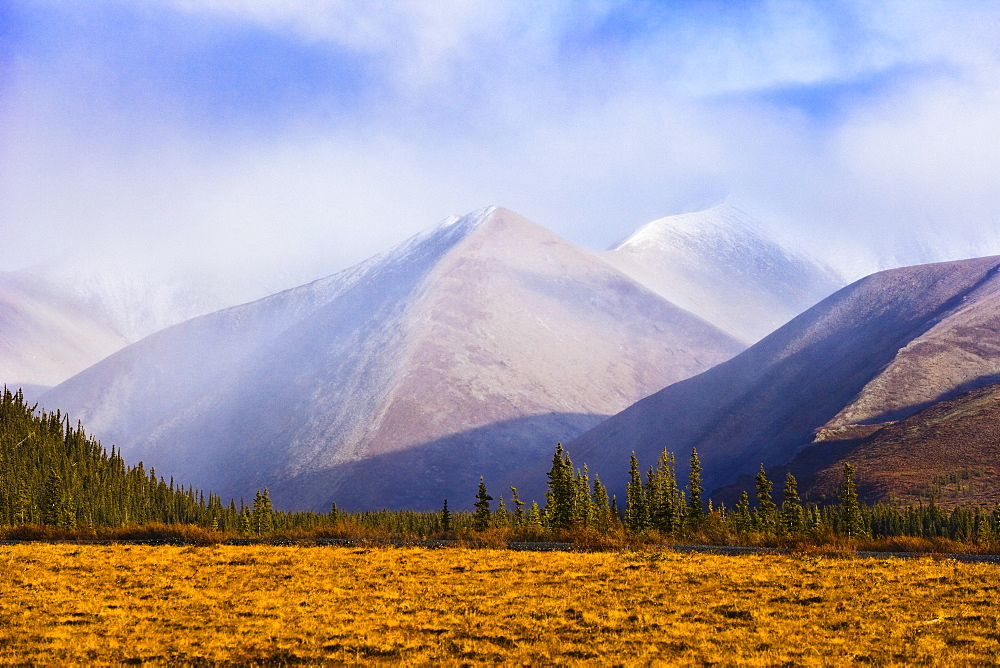 Fall colours and Richardson Mountains at sunset along Dempster Highway, Yukon
