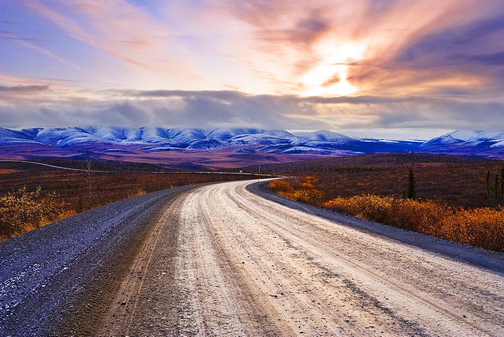 Dempster Highway, Arctic Circle and Richardson Mountains at sunrise, Yukon