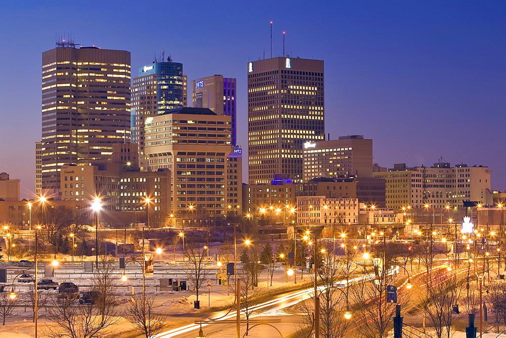 Winnipeg skyline at night, shot from The Forks towards Portage and Main St., Winnipeg, Manitoba