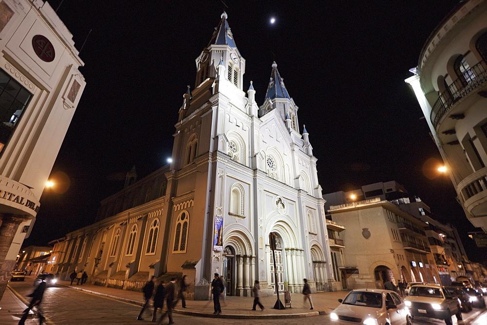 San Alfonso Church at night, Cuenca, Azuay, Ecuador