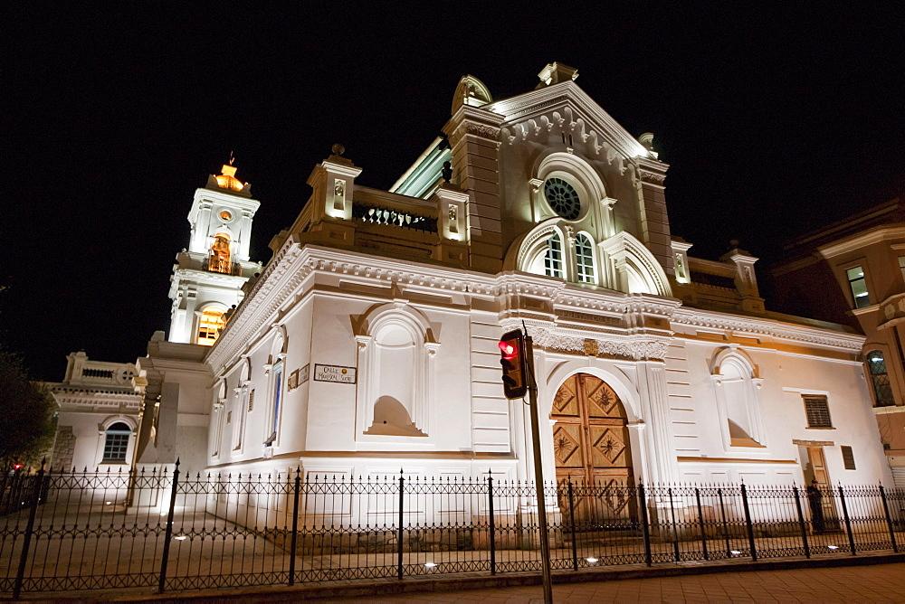 Catedral de la Inmaculada Concepcion - Catedral Nueva (Cathedral of the Immaculate Conception - New Cathedral) at night, Cuenca, Azuay, Ecuador