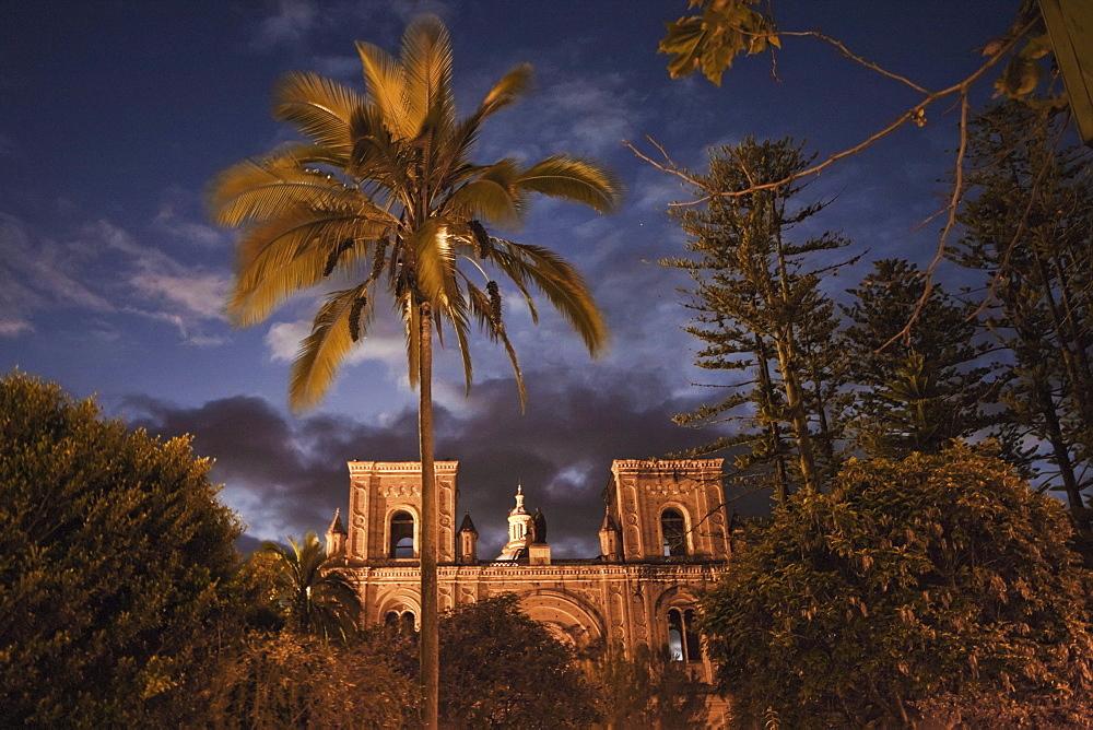 Iglesia de El Sagrario - Catedral Vieja (El Sagrario Church - Old Cathedral) at night, Cuenca, Azuay, Ecuador