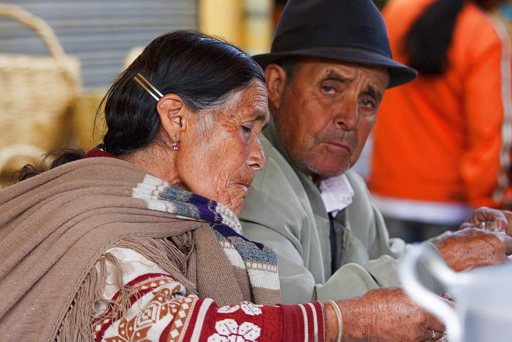 Elderly Otavaleuo couple, Otavalo, Imbabura, Ecuador