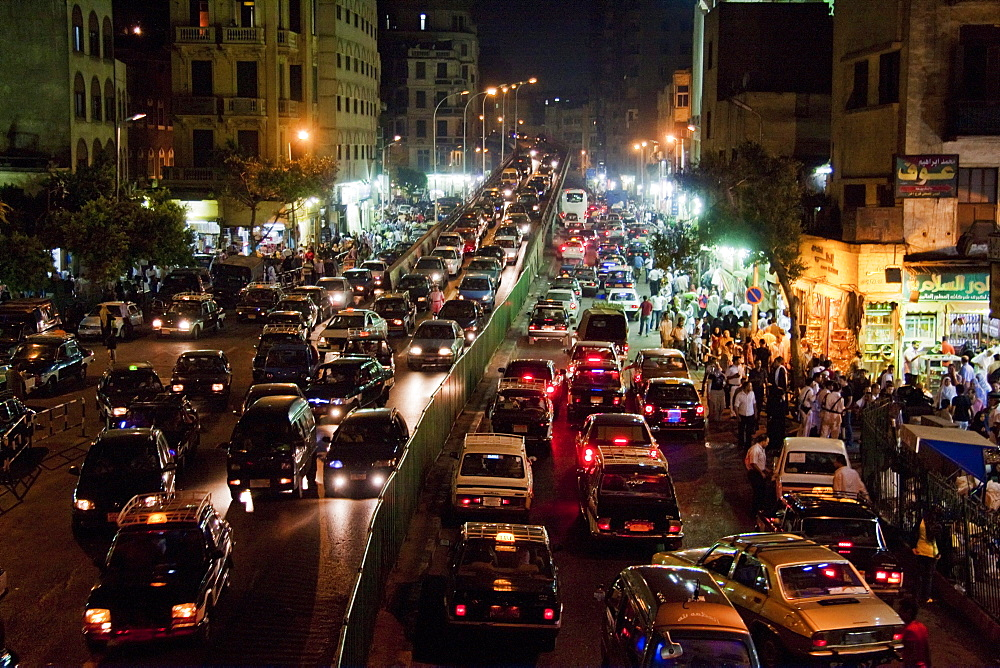 Traffic on Al-Azhar Street at night, Cairo, Al Qahirah, Egypt