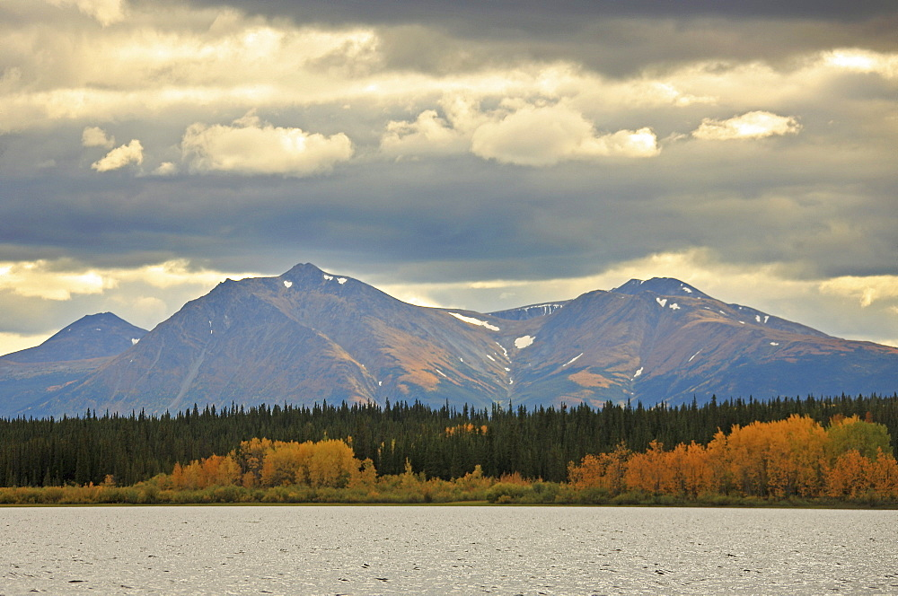 Storm clouds above Dawson Peaks in autumn, Teslin, Yukon