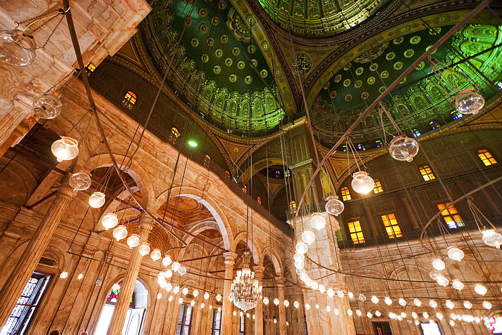 Cupola and lamps in the interior of the Prayer Hall of Mohammed Ali Mosque in the Citadel of Cairo, Al Qahirah, Egypt