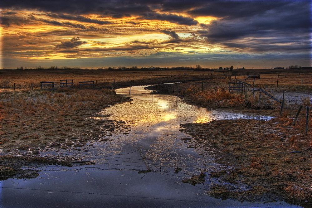 Sunset on Horsehills Creek north of Edmonton, Alberta