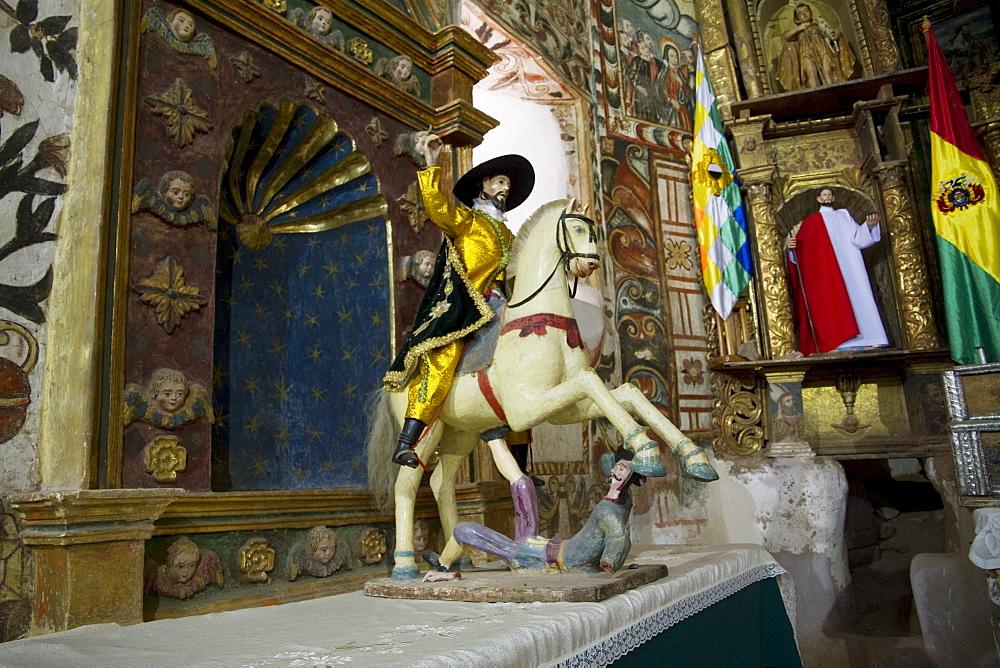"Figure of Saint James the Greater by the altarpiece in Santiago de Curahuara de Carangas church, the ""Sistine Chapel of the Andes"", Curahuara de Carangas, Oruro, Bolivia"
