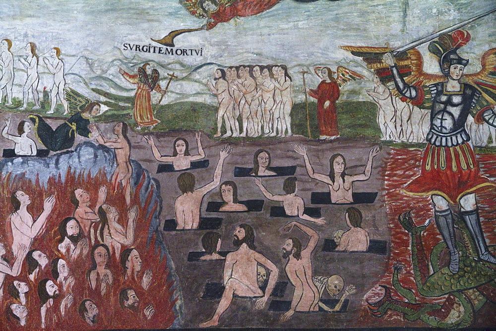 "Final Judgement illustrated by 17th century Baroque-Mestizo frescos in the nave of Santiago de Curahuara de Carangas church, the ""Sistine Chapel of the Andes"", Curahuara de Carangas, Oruro, Bolivia"