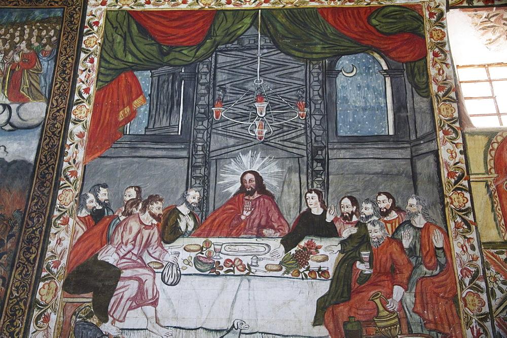"Last Supper illustrated by 17th century Baroque-Mestizo frescos in the nave of Santiago de Curahuara de Carangas church, the ""Sistine Chapel of the Andes"", Curahuara de Carangas, Oruro, Bolivia"
