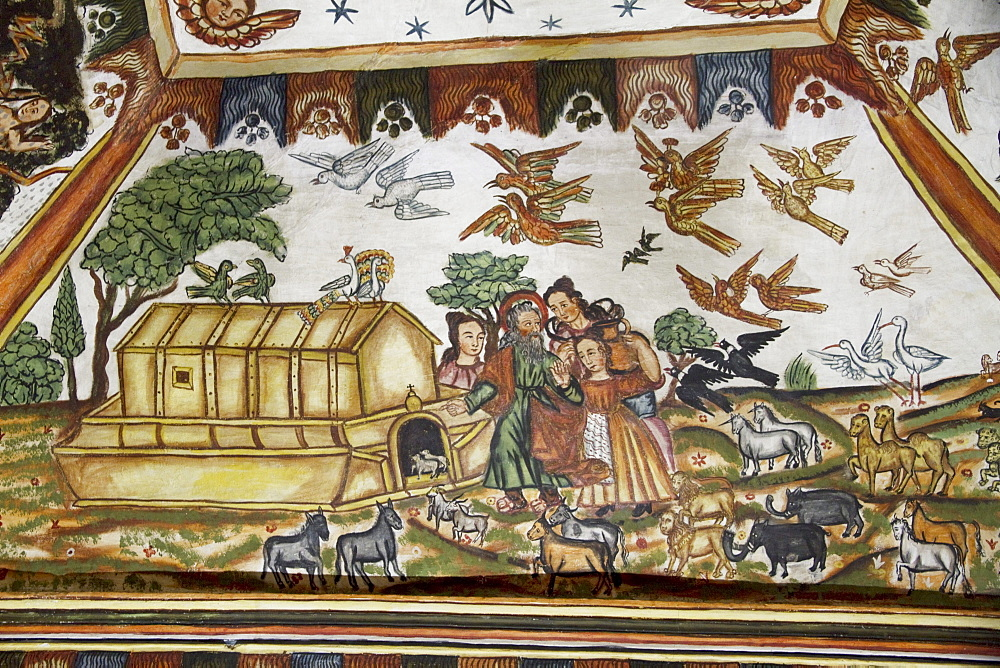 "Noah's Ark illustrated by Baroque-Mestizo frescos dating to the 17th century in the baptistery of Santiago de Curahuara de Carangas church, the ""Sistine Chapel of the Andes"", Curahuara de Carangas, Oruro, Bolivia"