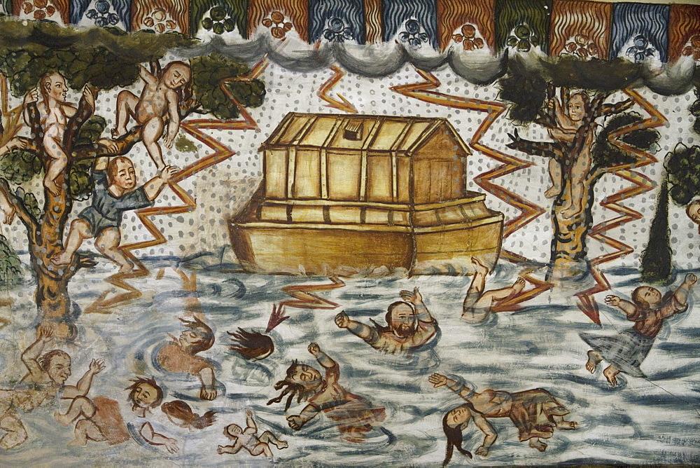 "Noah's Ark and the Deluge illustrated by Baroque-Mestizo frescos dating to the 17th century in the baptistery of Santiago de Curahuara de Carangas church, the ""Sistine Chapel of the Andes"", Curahuara de Carangas, Oruro, Bolivia"