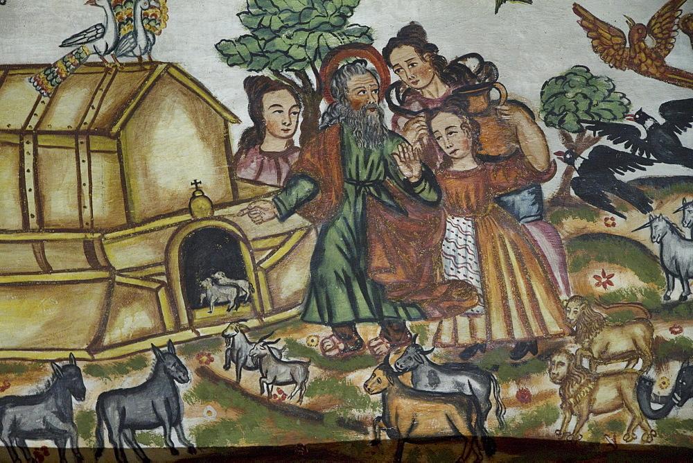 "Detail of Noah's Ark illustrated by Baroque-Mestizo frescos dating to the 17th century in the baptistery of Santiago de Curahuara de Carangas church, the ""Sistine Chapel of the Andes"", Curahuara de Carangas, Oruro, Bolivia"