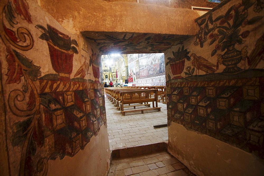 """17th century Baroque-Mestizo frescos in the nave of Santiago de Curahuara de Carangas church, the """"Sistine Chapel of the Andes"""", Curahuara de Carangas, Oruro, Bolivia"""