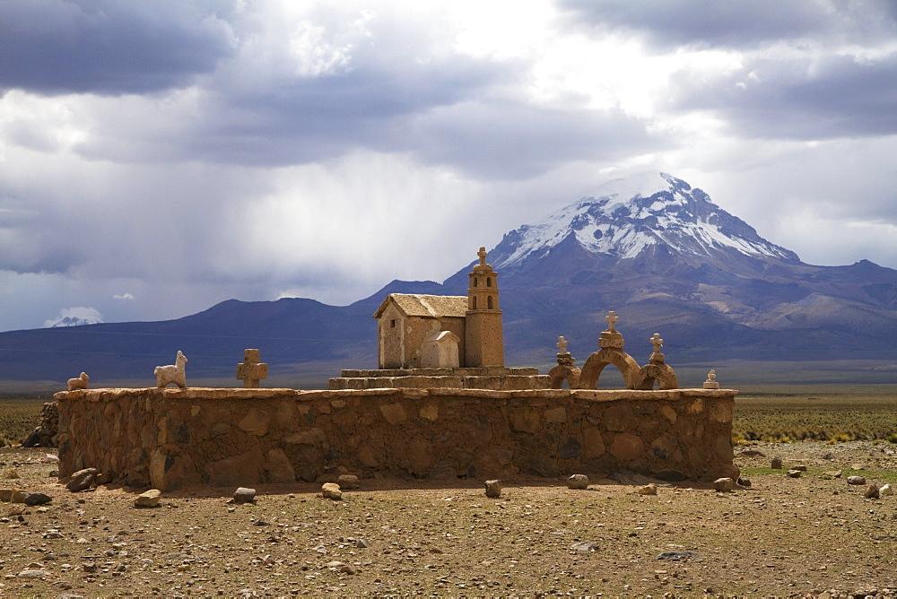 Church-shaped shrine and Nevado Sajama, Sajama National Park, Oruro Department, Bolivia