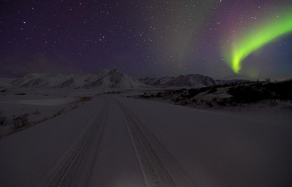 Aurora borealis over the Dempster Highway, Yukon, Canada