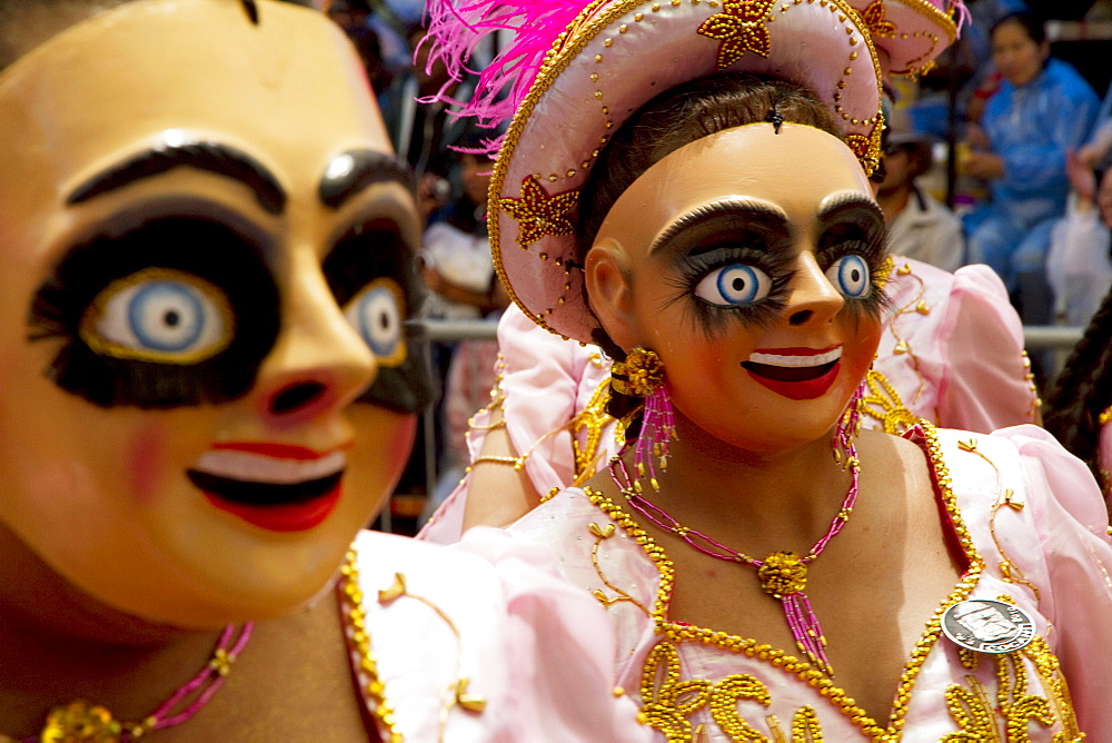 Morenada dancers wearing masks in the procession of the Carnaval de Oruro, Oruro, Bolivia - 1116-26067