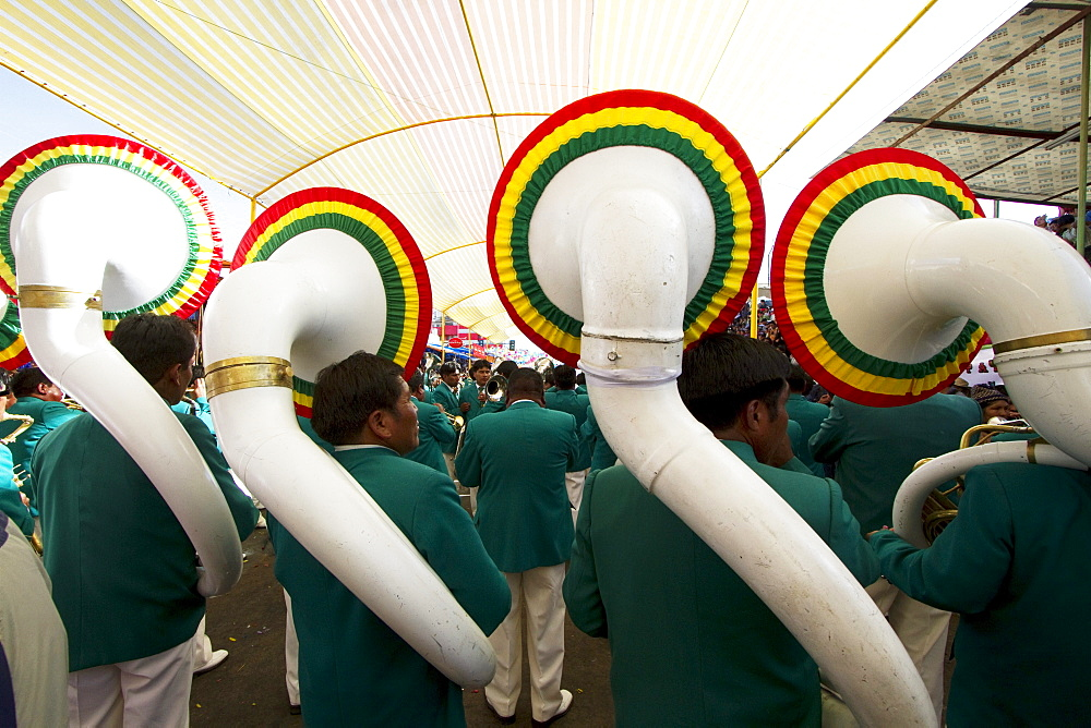 Tuba players in a marching band in the procession of the Carnaval de Oruro, Oruro, Bolivia