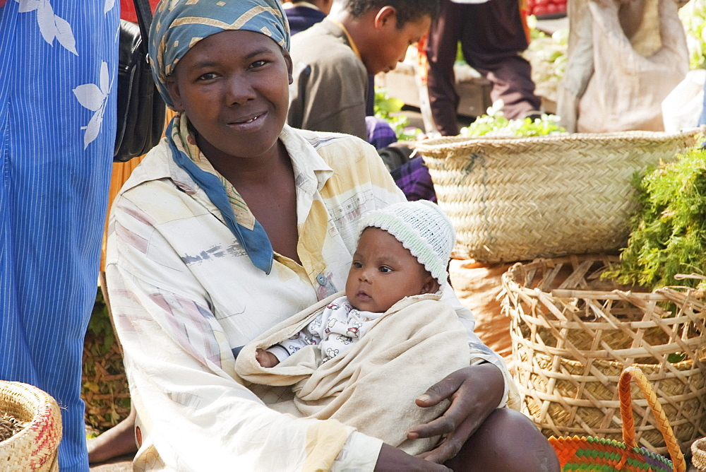 Woman and baby at the weekly market in Fianarantsoa, Madagascar