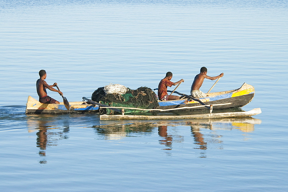 Fishermen in a boat on the Mozambique Channel, Mangily, Toliara Province, Madagascar