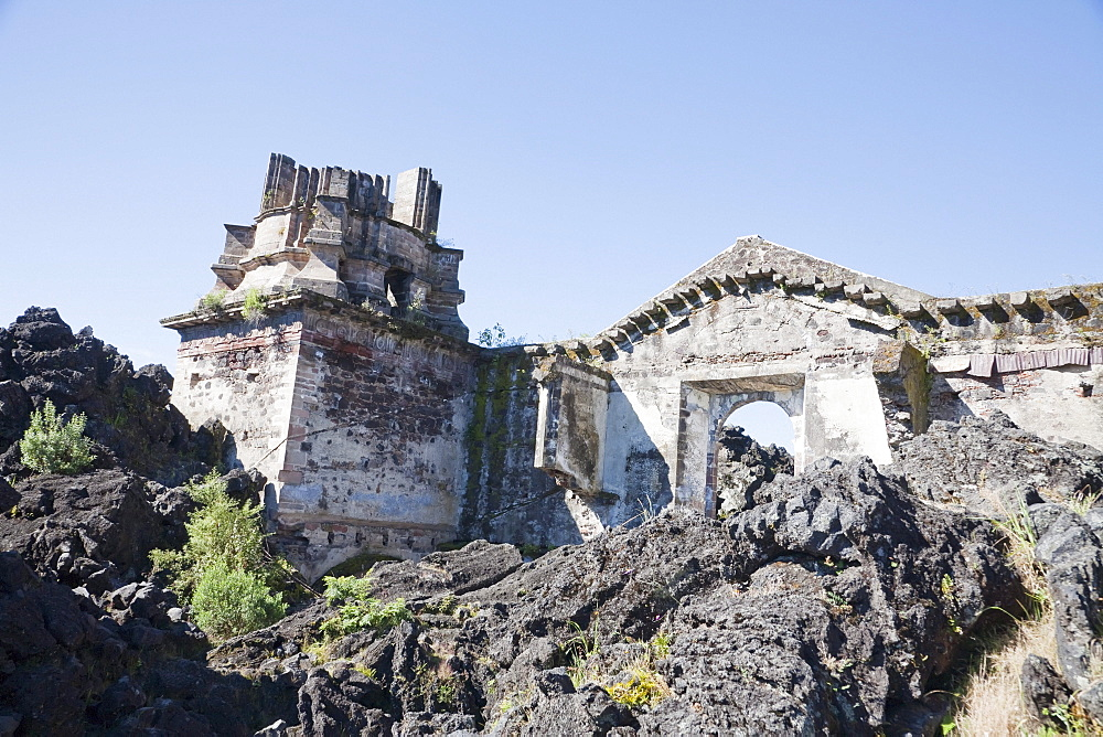 Remains of the San Juan Parangaricutiro Church destroyed by the Paricutín Volcano eruption from 1943 to 1952, Michoacán, Mexico