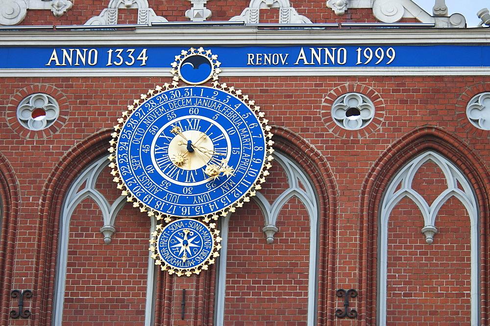 Clock of the House of the Blackheads, Riga, Latvia