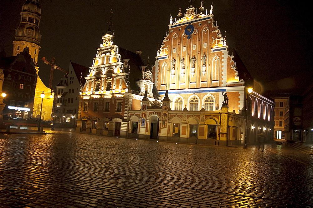 House of the Blackheads at night, Riga, Latvia