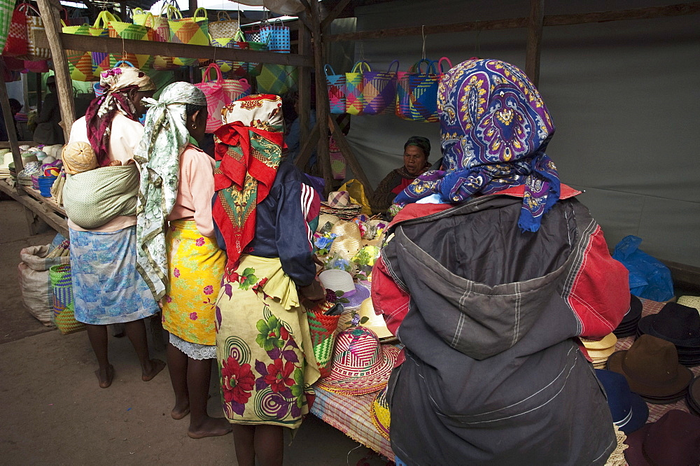 Hats for sale at the weekly market in Fianarantsoa, Madagascar