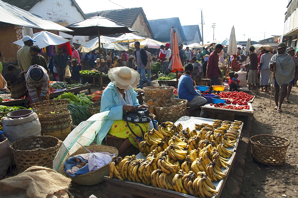Woman selling bananas at the weekly market in Fianarantsoa, Madagascar