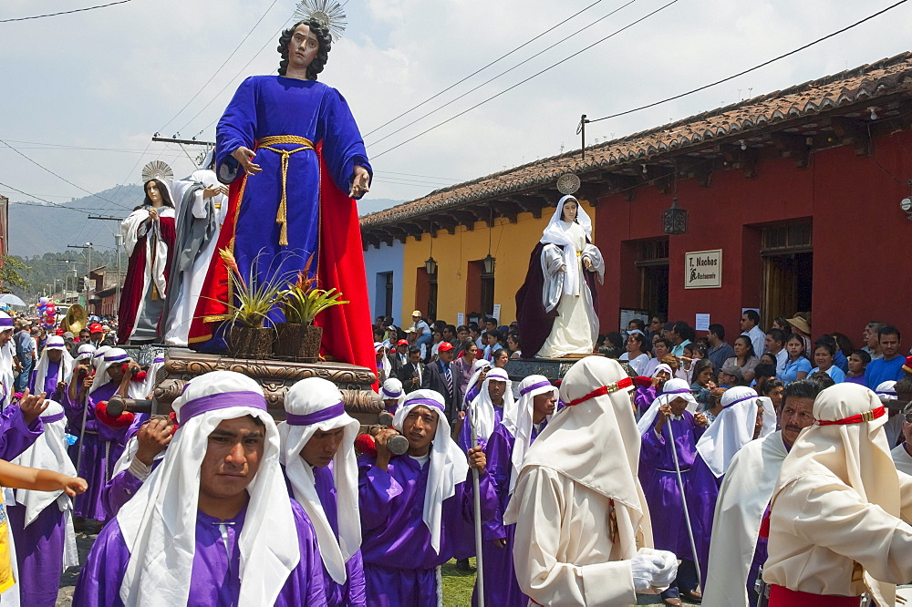 Men carrying the andas (floats) of a saint & the Virgin Mary at the Procession of the Holy Cross on Good Friday in Antigua Guatemala, Sacatepuquez, Guatemala