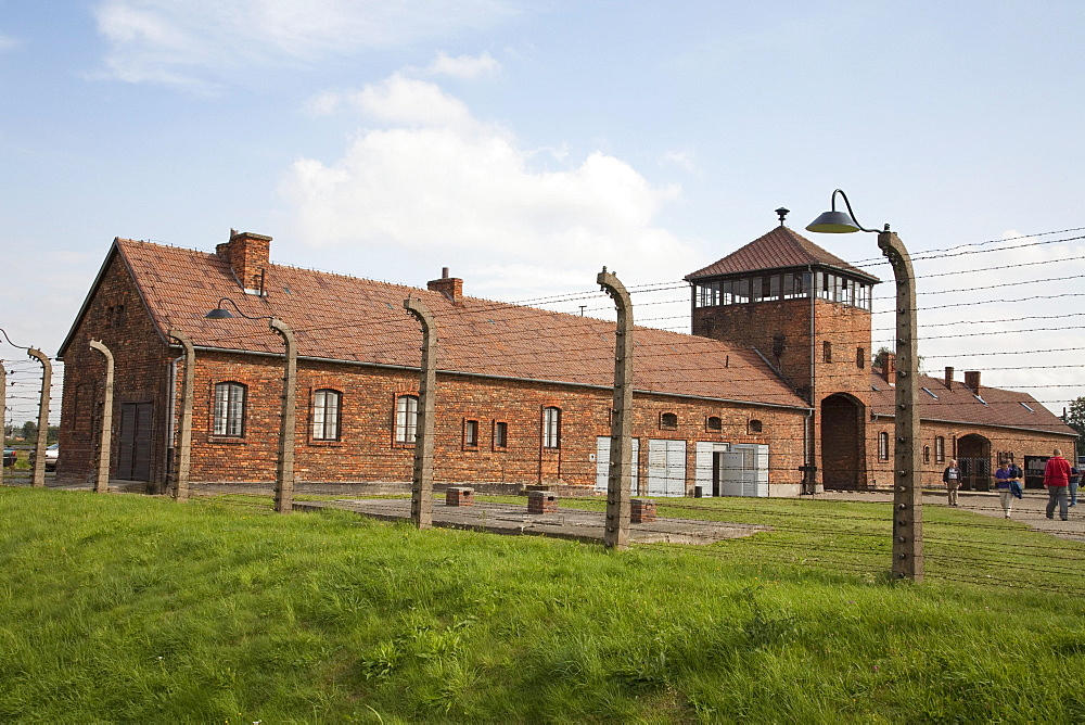 Main guard house (Gate of Death), Auschwitz-Birkenau Concentration Camp, Oswiecim, Malopolska, Poland