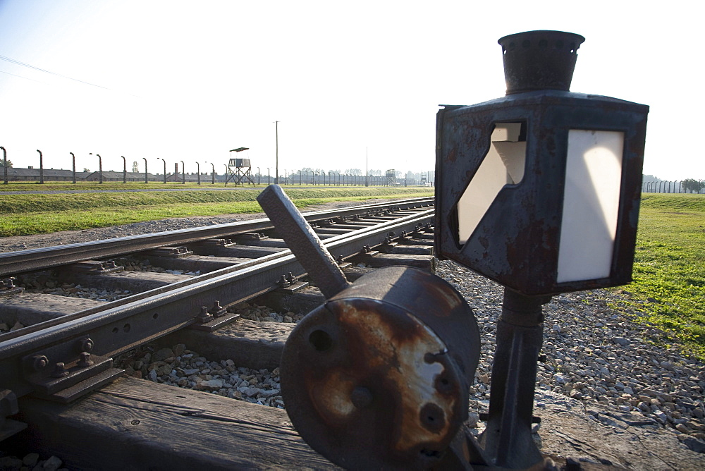 Switch on the railway track along the 'Selektionsrampe', the platform where people where selected to die in the gas chambers immediately or to work to death at the Auschwitz-Birkenau Concentration Camp, Oswiecim, Malopolska, Poland