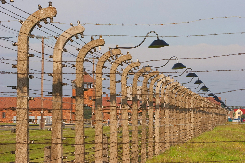 Electrified barbed wire fences separating the sections of the Auschwitz-Birkenau Concentration Camp, Oswiecim, Malopolska, Poland
